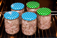 Homemade foreshank meat food in jars. Royalty Free Stock Image