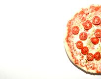 Homemade four cheese pizza with basil and oregano over white background with copyspace Royalty Free Stock Photos