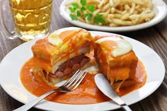 Homemade francesinha, portuguese sandwich Royalty Free Stock Image