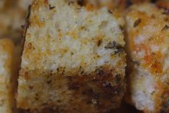 Homemade french crouton. Homemade french crouton close up, background, cubes Stock Images