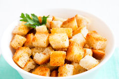 Homemade french croutons. In white bowl close up royalty free stock photography