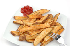 Homemade French Fries. Plate of homemade french fries with ketchup Stock Photography
