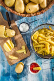 Homemade French fries made ​​from potatoes Royalty Free Stock Image
