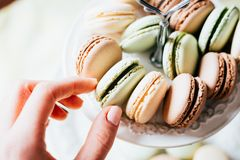 Homemade French Macaroons on the Plate, Pistachio, Coffee and Va stock image