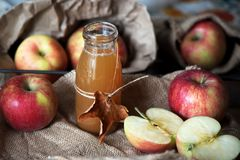 Homemade fresh apple cider in a jar. Stock Photo
