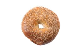 Fresh Bagel On White Background royalty free stock images