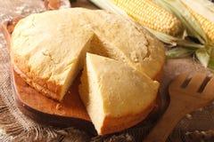 Homemade fresh-baked corn bread close-up. Horizontal Stock Photography