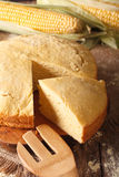 Homemade fresh-baked corn bread close-up. vertical Royalty Free Stock Images