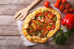 Homemade fresh-baked vegetable pie close-up. horizontal top view Stock Photo