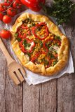 Homemade fresh-baked vegetable pie and ingredients. vertical top Royalty Free Stock Image