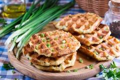 Homemade fresh baked zucchini waffles royalty free stock images