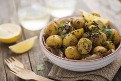 Bombay potatoes in a bowl Stock Photos