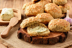 Homemade fresh bread buns with cheese and garlic butter. Stock Images