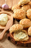 Homemade fresh bread buns with cheese and garlic butter. Royalty Free Stock Photography