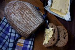 Homemade fresh bread with butter Royalty Free Stock Photography