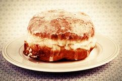 Homemade fresh donut, doughnut on a plate. Stock Photo