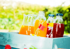 Homemade fresh fruit juice for a summer picnic Stock Photo