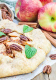 Homemade fresh galette with pecan nuts Royalty Free Stock Photo