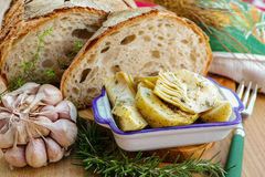 Homemade fresh italian bread and artichokes in brine with spices Stock Images