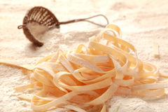 Homemade Fresh Italian Egg Pasta on Flour Stock Image