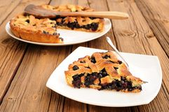 Homemade fresh lattice pie with whole wild blueberries Royalty Free Stock Photo