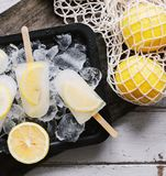 Homemade fresh lemon and citrus popsicles Stock Image