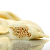 Homemade, fresh meat pastry,polish  dumplings on white backgroun Stock Photography