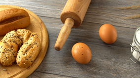 Homemade fresh pastry, eggs, and flour on a rustic wooden table. Natural and healthy eating. stock video