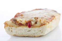Homemade fresh pizza baguette on white background. stock photo