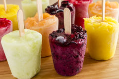 Homemade Fresh Pureed Fruit Frozen Popsicles Royalty Free Stock Photo