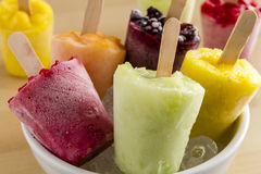 Homemade Fresh Pureed Fruit Frozen Popsicles Stock Images