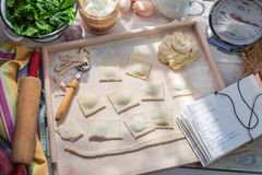 Homemade fresh ravioli for dinner Stock Photos
