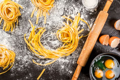 Homemade fresh raw pasta Royalty Free Stock Photography