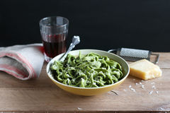 Homemade fresh spinach pasta Stock Photos
