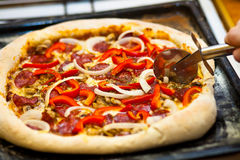 Homemade fresh and tasty pizza Stock Photography