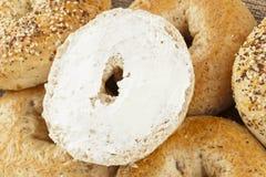 Homemade Fresh Whole Grain Bagel Stock Photos