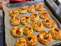 Homemade Freshly Baked Mini Small Pizza in Oven Tray stock images