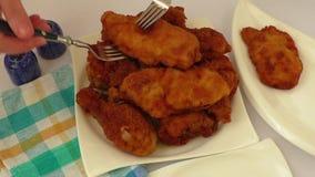 Homemade fried chicken schnitzel stock footage