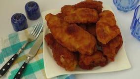Homemade fried chicken schnitzel stock video footage