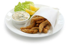 Homemade fried fish fingers with tartar sauce Stock Photography