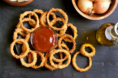 Homemade fried onion rings Royalty Free Stock Photo