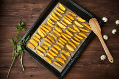 Homemade fried potato with eggs on table, stilllife Royalty Free Stock Photography