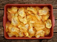 Homemade fried potatoes sliced chips stock photography
