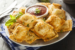 Homemade Fried Ravioli with Marinara Sauce Stock Photo