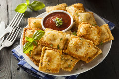 Homemade Fried Ravioli With Marinara Sauce Stock Photography