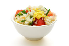 Homemade fried rice with tomatoes and egg on white with clipping path Royalty Free Stock Photography