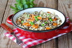 Fried wild rice with vegetables Stock Photography