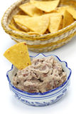 Homemade frijoles with tortilla chips Stock Image