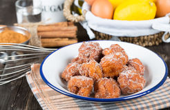 Homemade fritters with sugar Stock Photography