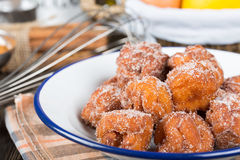 Homemade fritters with sugar Stock Image